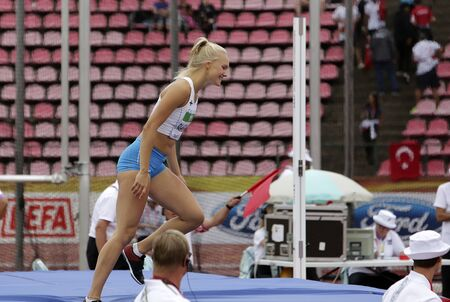 TAMPERE, FINLAND,  July 12: SANNI PAJASMAA from FINLAND on heptathlon event in the IAAF World U20 Championship Tampere, Finland 12 July, 2018. Foto de archivo - 126230177