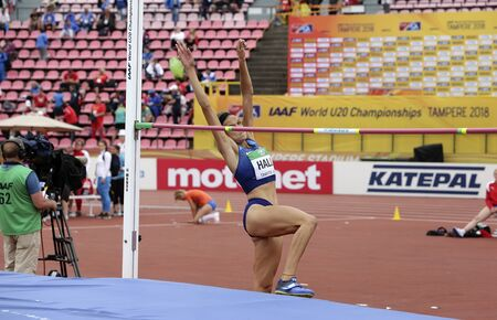 TAMPERE, FINLAND,  July 12: ANNA HALL (USA), american track and field athlete on heptathlon event in the IAAF World U20 Championship Tampere, Finland 12th July, 2018. Foto de archivo - 126230179
