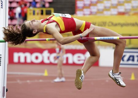 TAMPERE, FINLAND,  July 12: CLAUDIA CONTE (SPAIN) on high jump heptathlon event in the IAAF World U20 Championship Tampere, Finland 12 July, 2018. Foto de archivo - 126230182