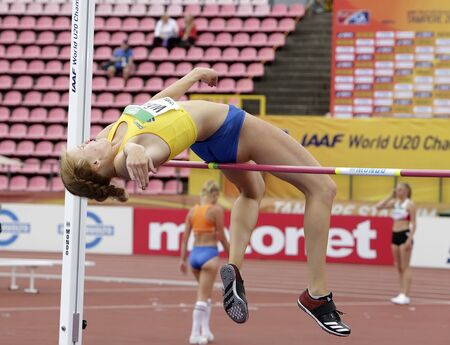 TAMPERE, FINLAND,  July 12: ERIKA WARFF from SWEDEN on heptathlon event in the IAAF World U20 Championship Tampere, Finland 12 July, 2018. Foto de archivo - 126230183