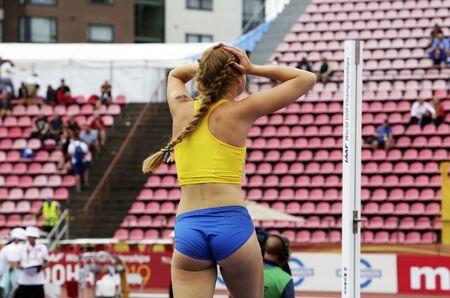 TAMPERE, FINLAND,  July 12: ERIKA WARFF from SWEDEN on heptathlon event in the IAAF World U20 Championship Tampere, Finland 12 July, 2018. Foto de archivo - 126230184
