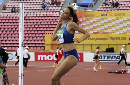 TAMPERE, FINLAND,  July 12: ANNA HALL (USA), american track and field athlete on heptathlon event in the IAAF World U20 Championship Tampere, Finland 12th July, 2018. Foto de archivo - 126230190
