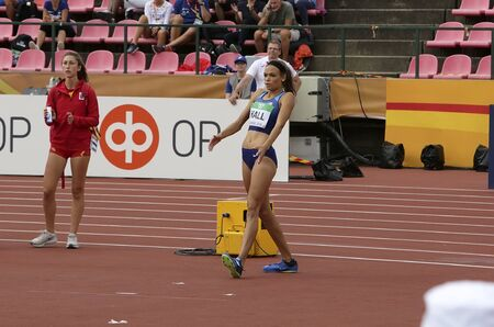 TAMPERE, FINLAND,  July 12: ANNA HALL (USA), american track and field athlete on heptathlon event in the IAAF World U20 Championship Tampere, Finland 12th July, 2018. Foto de archivo - 126230193