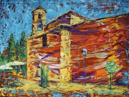 Abstract art painting of the old spanish church