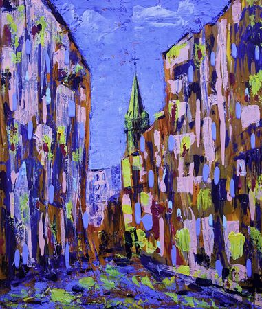 Absract art painting of the old city street Stock Photo