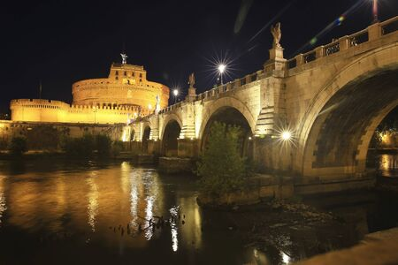 Castel St. Angelo and St. Angelo Bridge in the night Rome, Italy Stock Photo