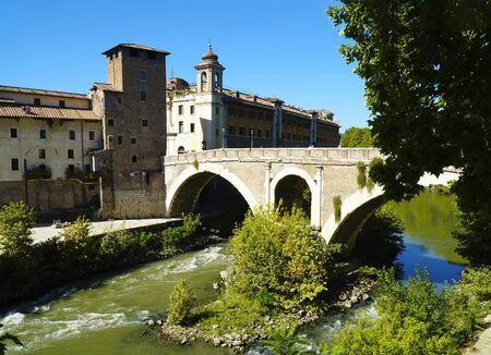 The Pons Fabricius or Ponte dei Quattro Capi, is the oldest Roman bridge in Rome, Italy