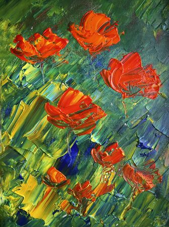 Art painting with red flowers. Original painting