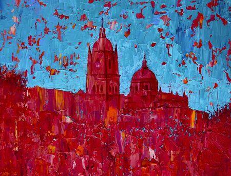 Abstract art painting of the Salamanca church