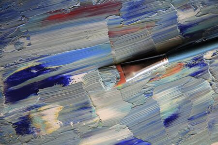 Closeup background of brush and palette. Stok Fotoğraf