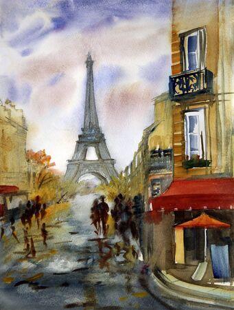 Peinture à l'aquarelle de la rue de Paris avec la Tour Eiffel Banque d'images