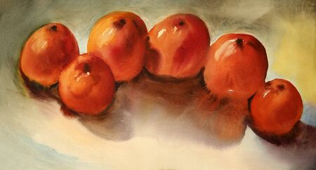 Watercolor still life with persimmon fruit on the table