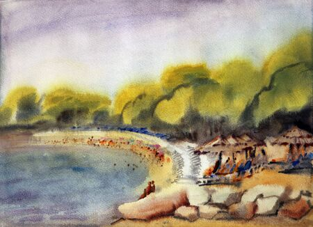 Watercolor painting of the sea beach