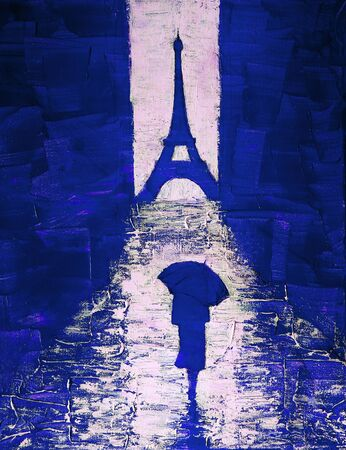 Artistic painting of a woman walking under an umbrella to the Eiffel Tower 版權商用圖片