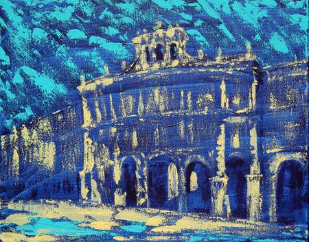 Art painting of the Plaza Mayor of Salamanca city, Spain Foto de archivo