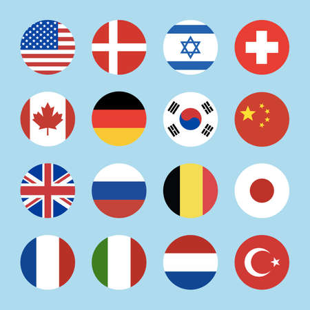 World flags circle icon.