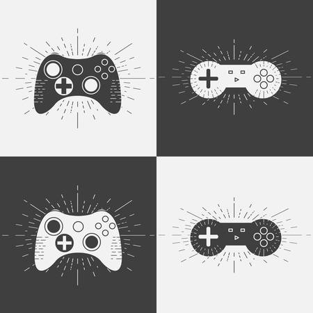 Set of retro gamepads icons.