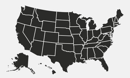 USA map with states isolated on a white background. United States of America map. Vector illustration  イラスト・ベクター素材