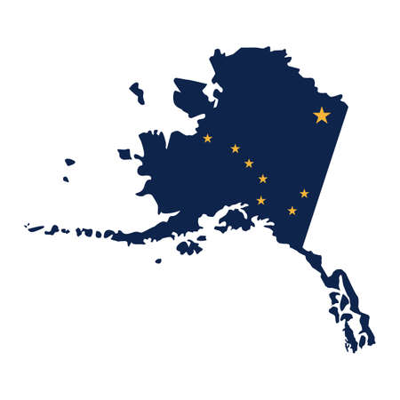 Alaska map icon vector illustration. Çizim