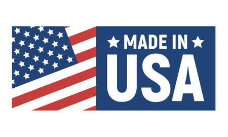 Made in USA label, American banner template, vector illustration.