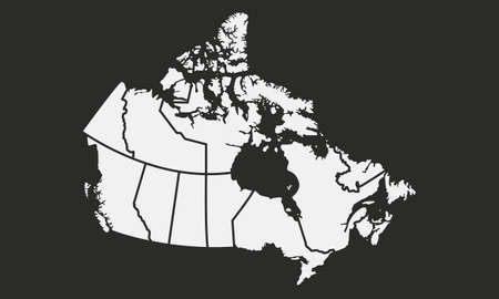 Map of the Canada with provinces and territories isolated on a black background vector illustration.