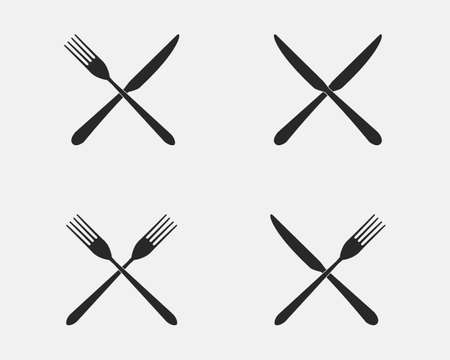 Set of restaurant icons. Fork and knife icons isolated on a white background. Illustration