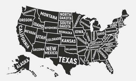 Carte de l'affiche des Etats-Unis avec des noms d'état Illustration vectorielle