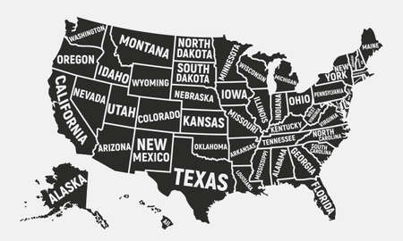 Poster map of USA with state names Vector illustration
