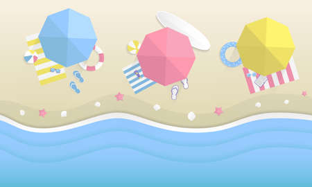 Three umbrellas, blue, red and yellow with beach items. Top view beach background. Trendy Summer background, banner. Vector illustration