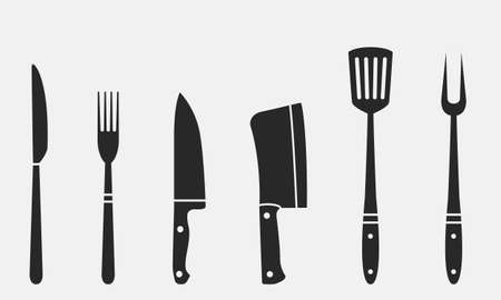Butcher knives, grill fork and spatula. Set of restaurant icons. Vektorové ilustrace