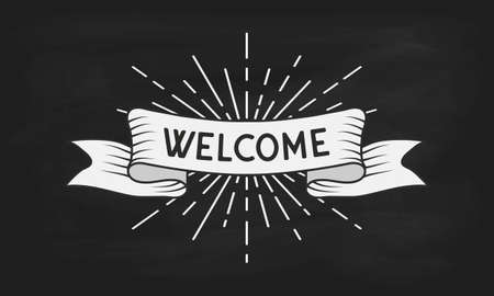 Welcome Text On Vintage Ribbon Banner With Light Rays On