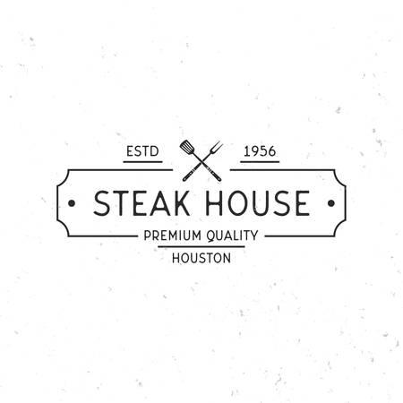 Steak house logo. Grill Restaurant label. Vintage minimal Design. Grunge texture. Vector illustration Illustration