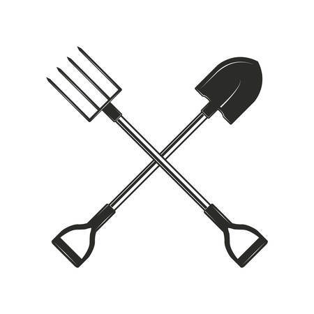 Herramientas de jardinería y agricultura cruzadas aisladas sobre fondo blanco. Pala y tenedores de jardín en estilo monocromo. Ilustración de vector.