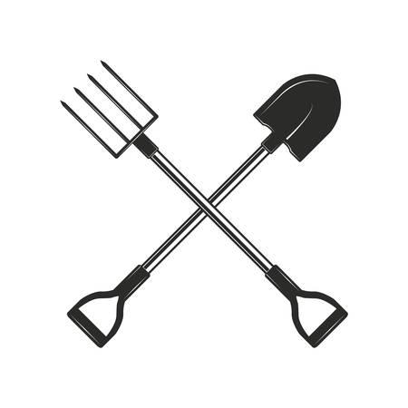 Skrzyżowane narzędzia ogrodnicze i rolnicze na białym tle. Łopata i widelce ogrodowe w monochromatycznym stylu. Ilustracja wektorowa.