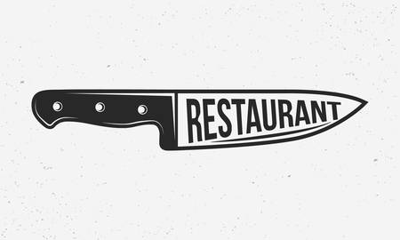 Restaurant retro vector poster. French or Chef's knife with text restaurant. Print for T-shirt, typography. Retro design. Grunge texture. Vector illustration