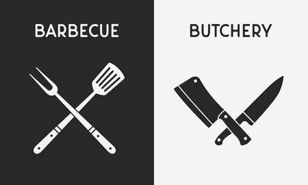 Set of restaurant knives icons. Silhouette of Barbecue and Butchery icons. Design elements for restaurant, bar, butchery logo, emblem. Vector illustration