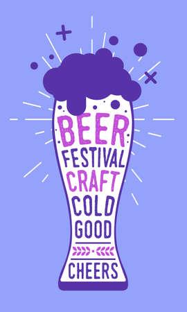 Beer Poster of Beer Festival. Colorful poster, print, banner. Modern style. Poster for bar, pub, restaurant. Vector Illustration