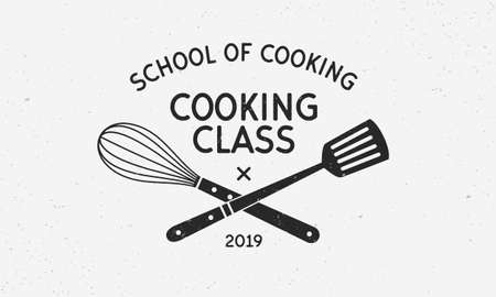 Cooking class vintage logo with grunge texture. School of Cooking logo template. Vintage design poster. Label, badge, food courses, cooking courses, culinary school. Vector illustration Çizim