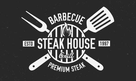 Steak House logo. BBQ logo with barbecue grill, spatula and grill fork isolated on black background. Vector emblem template.