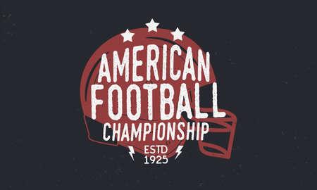 American Football league. Football championship logo. Trendy retro logo. Football helmet. Logo Template. Vector Illustration Logo