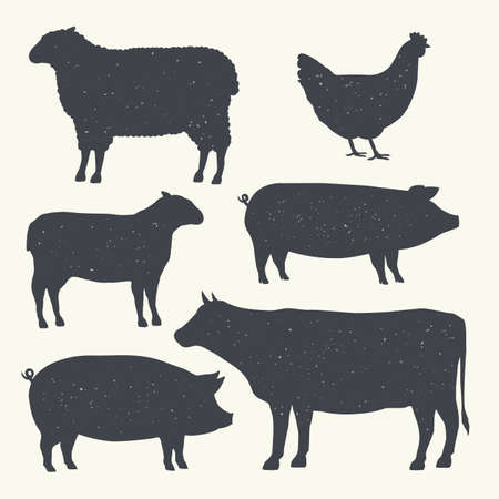 Farm Animals Vintage Set. Silhouettes of Cow, Pig, Sheep, Lamb, Hen. Farm Animals icons isolated on white background. Ilustracja