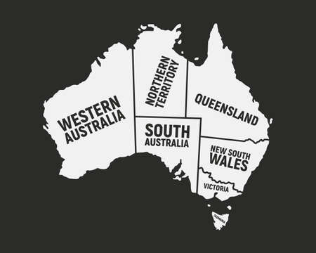 Australia poster map with states names. Australian background. Map of Australia isolated on a black background. Print for T-shirt, typography. Vector illustration