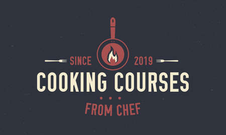 Cooking Courses emblem. Food vintage emblem. Food studio emblem concept with kitchen tools. Label, badge, food class, cooking class, culinary school. Vector illustration
