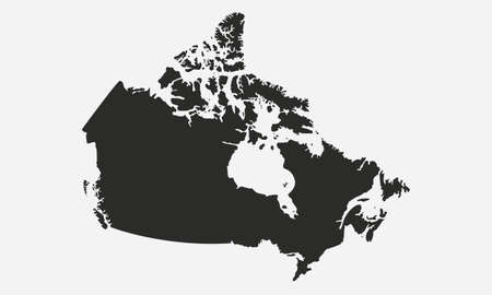 Canada black blank map. Canadian map isolated on white background.