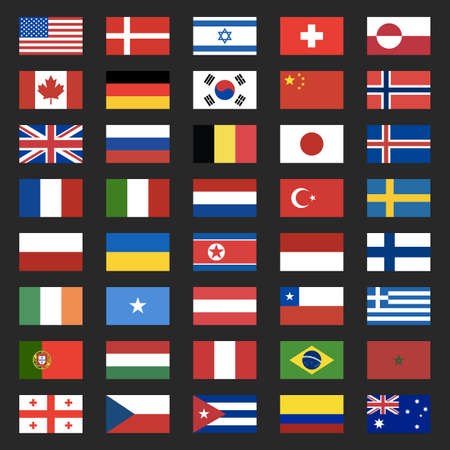 40 world flags icons isolated on a black background. USA, Portugal, Israel, Switzerland, Canada, Germany, South Korea, Russia, Brazil, Japan, France, Italy, Turkey. Vector illustration