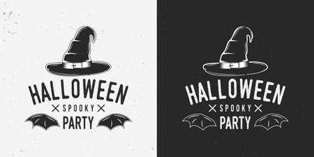 Halloween party badge, label, logo. Vintage halloween label with witchs hat and bat wings. Vector illustration Ilustração