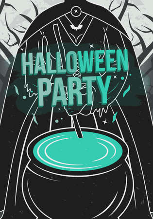 Halloween poster with witch and cauldron. Vintage halloween party flyer. Vector illustration