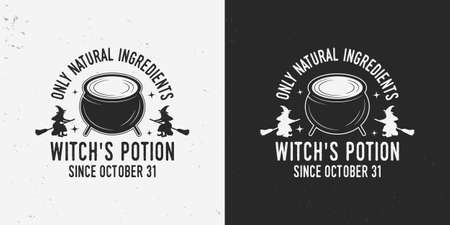 Halloween label with cauldron and witchs silhouettes. Witch logo, badge. Vector illustration