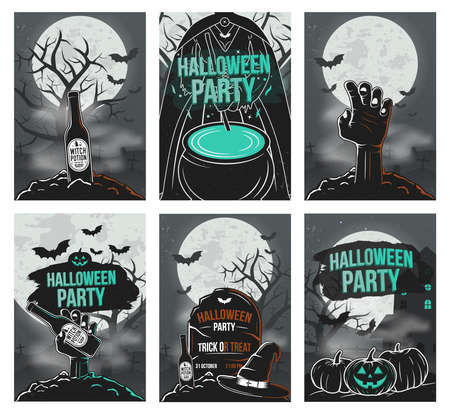 Vector set of Halloween party invitations, posters and flyers. Trendy vintage design. Vector illustration Archivio Fotografico - 129011612