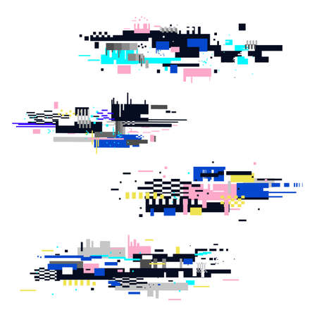 Glitch elements set isolated on white background. Trendy Digital design elements. Glitches collection. Fail TV signal. Vector Technical glitch.
